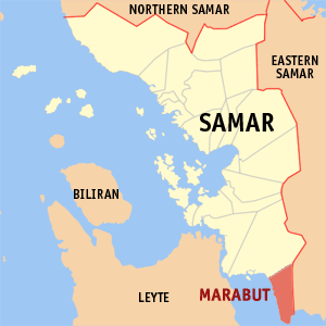 Map of Samar showing the location of Marabut