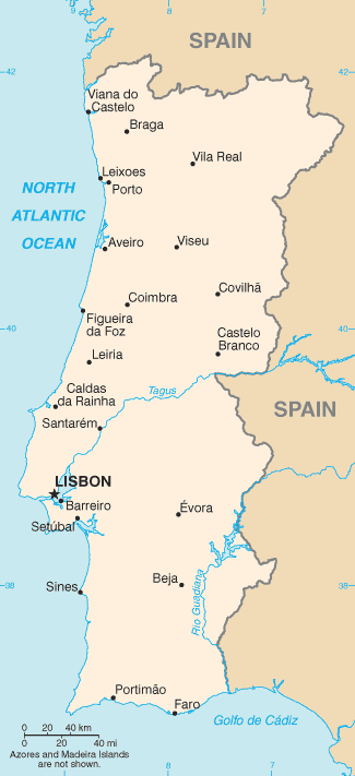 Map of Portugal with cities