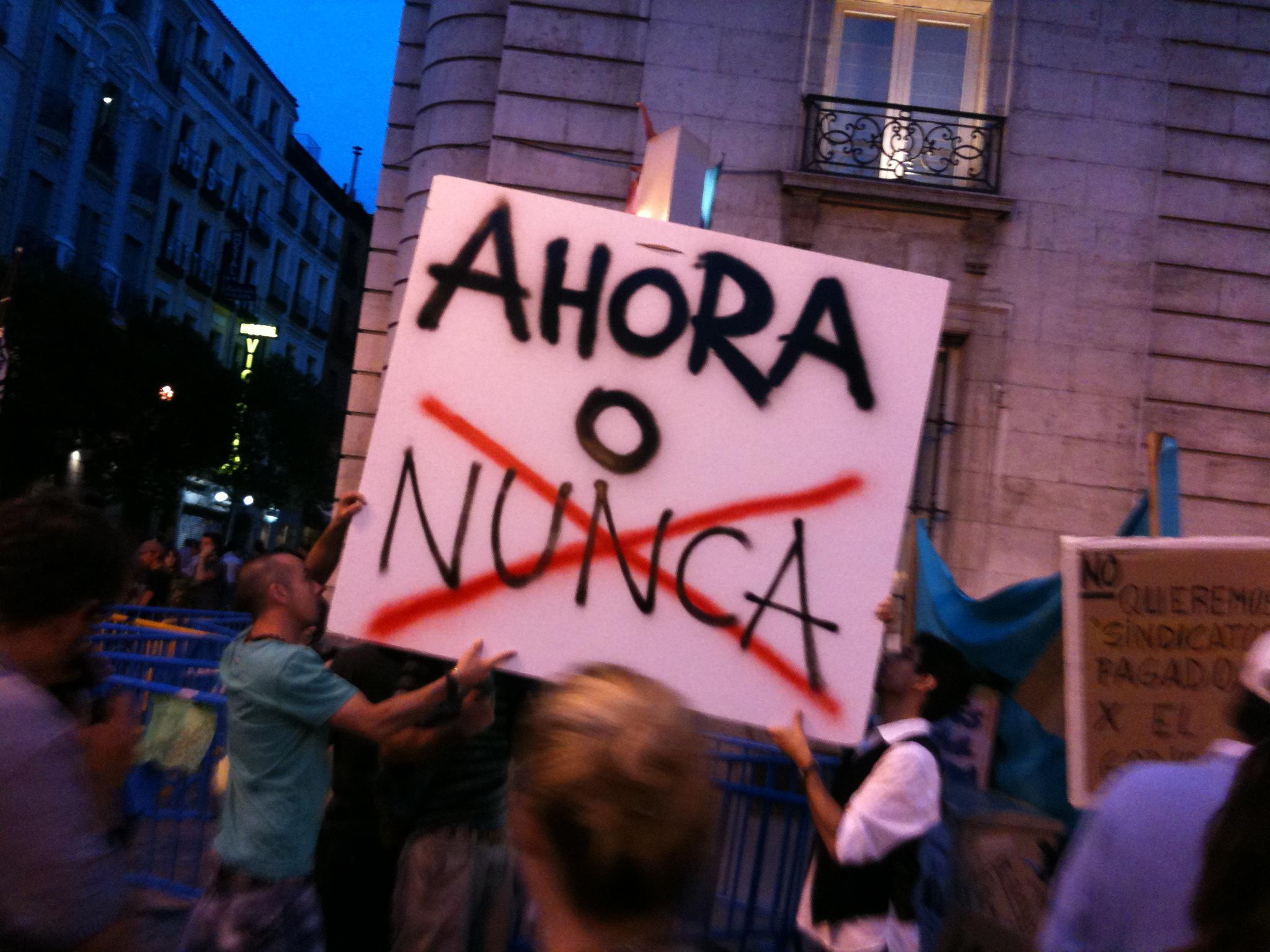 file protests in puerta del sol madrid ahora o nunca