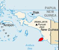 Bahasa Indonesia: Pulau Yos Sudarso (merah)