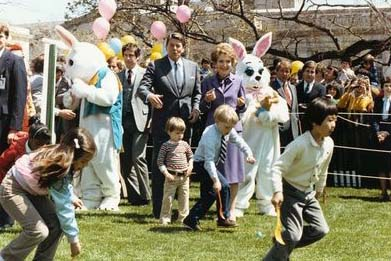 The Reagans at the 1982 White House Easter egg roll.