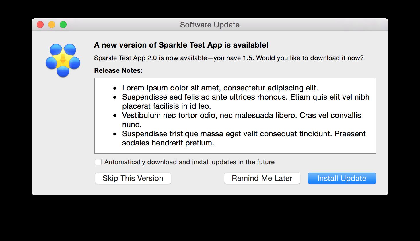 Sparkle update window