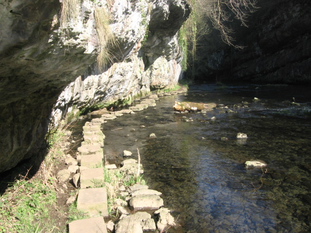 Stepping stone footpath under cliffs in Chee Dale - geograph.org.uk - 1213019