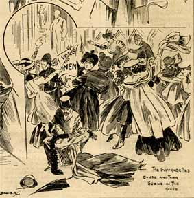 drawing of group of women in antiquated dress brandishing banners and tussling with men