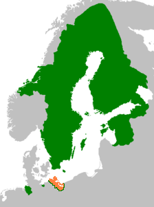 Swedish Pomerania (orange) within the Swedish Empire in 1658