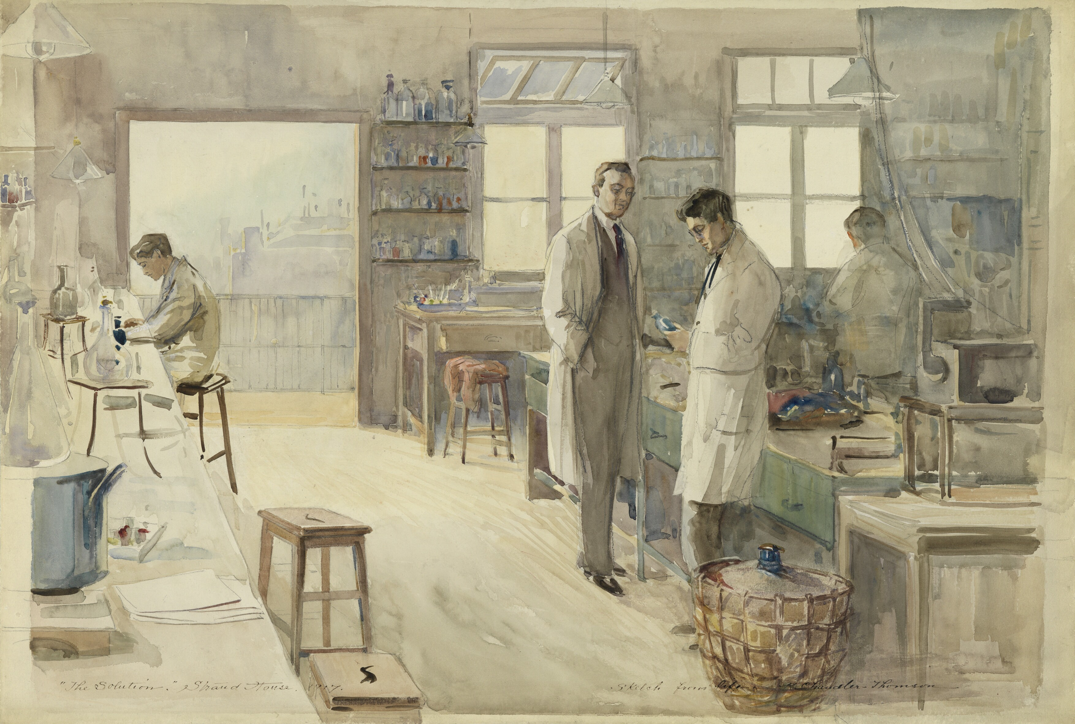 The Laboratory at Strand House, Portugal Street, London, 1917 Art.IWMART4748