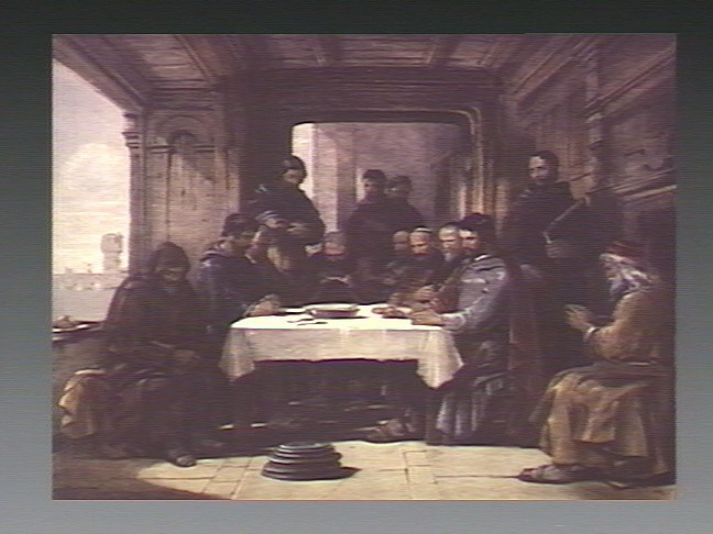 File:Thirteen men pray before celebrating the last supper. Chromo Wellcome V0034750.jpg