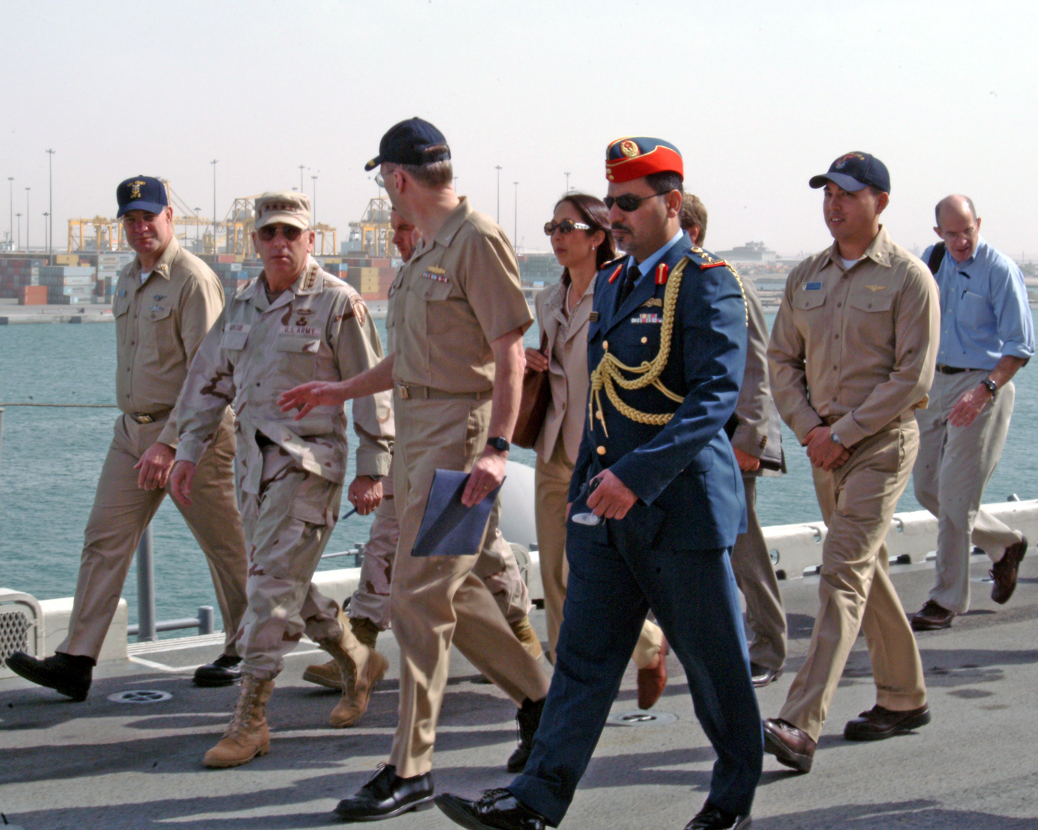 File Us Navy 041129 N 8801b 048 Commander U S Central Command Centcom John P Abizaid Ambador To United Arab Emirates Uae Michele J Sison
