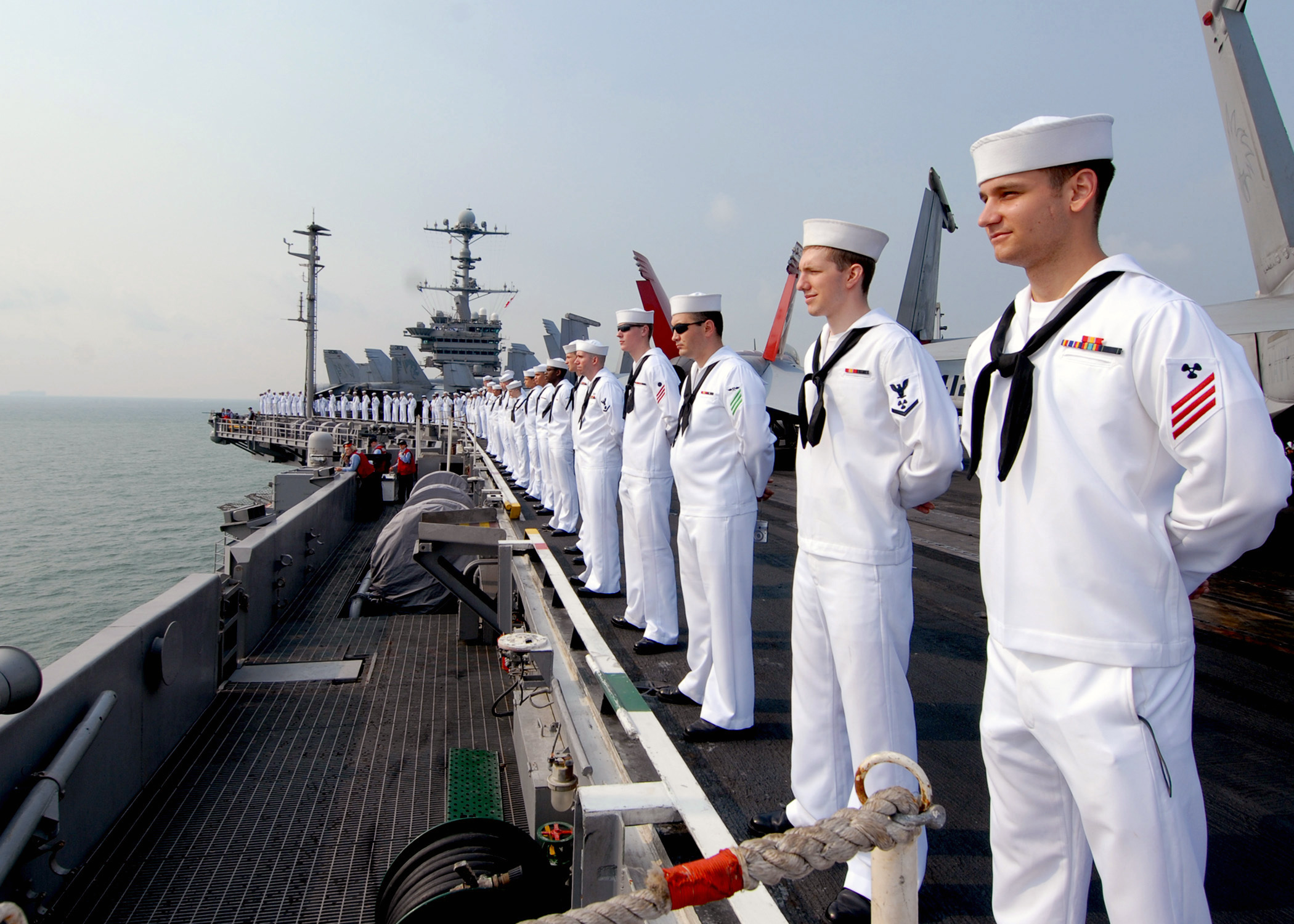 File:US Navy 090802-N-6720T-045 Sailors man the rails aboard the ...