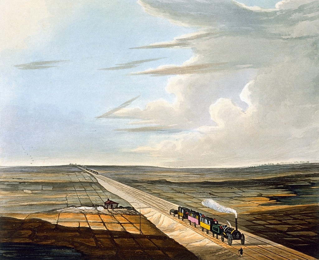 Steam engine crossing a flat expanse