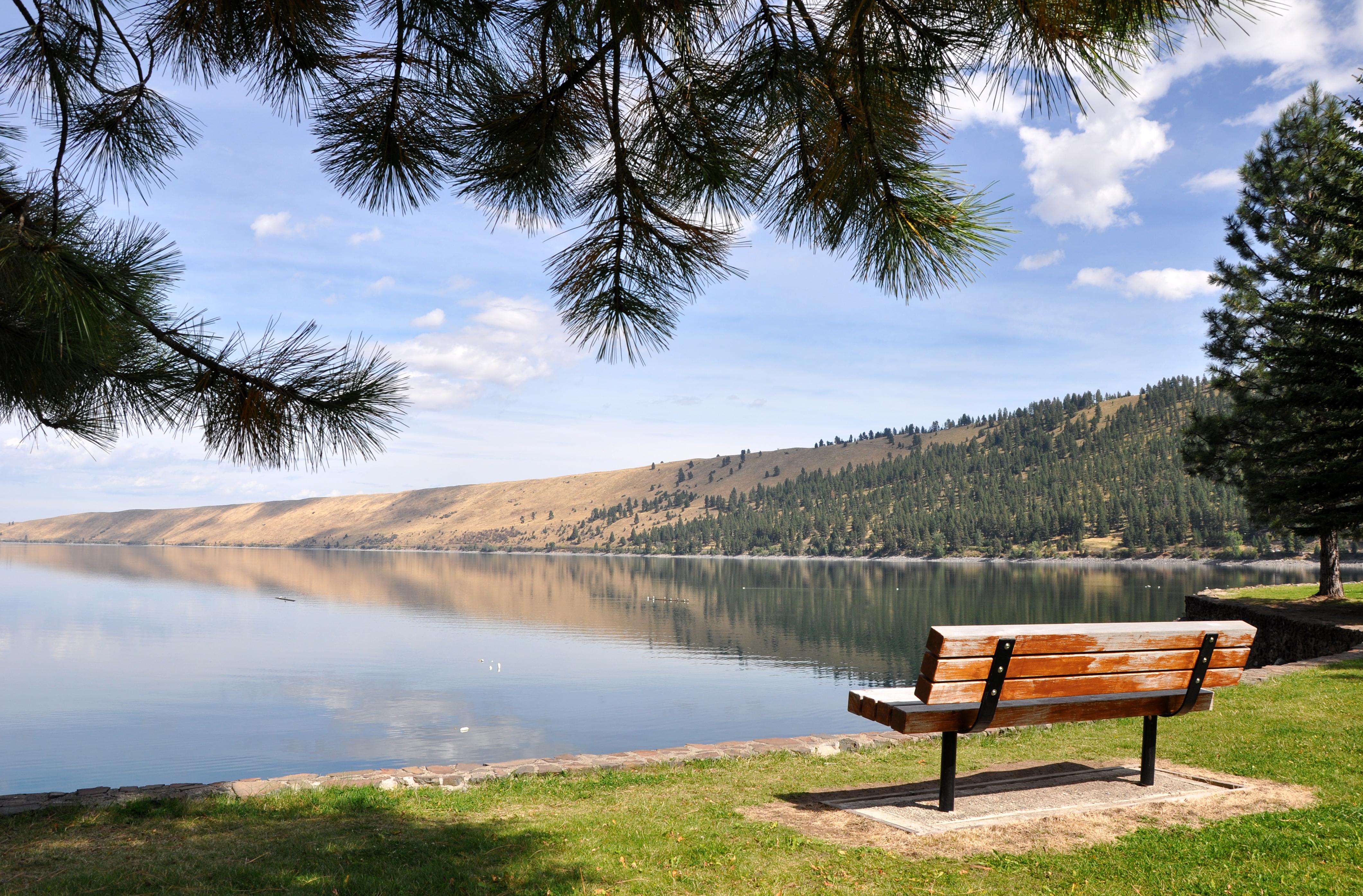 File Wallowa Lake State Park Bench Jpg Wikimedia Commons