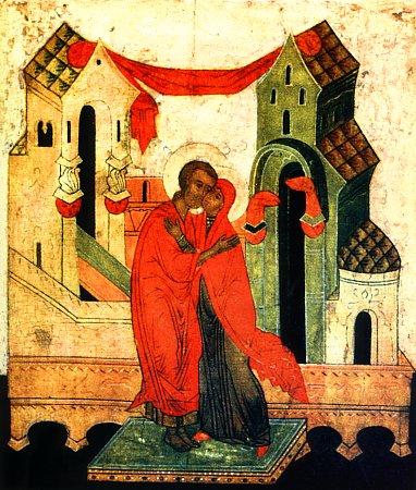 Икона «Зачатие праведной Анны» изображает встречу у Золотых ворот