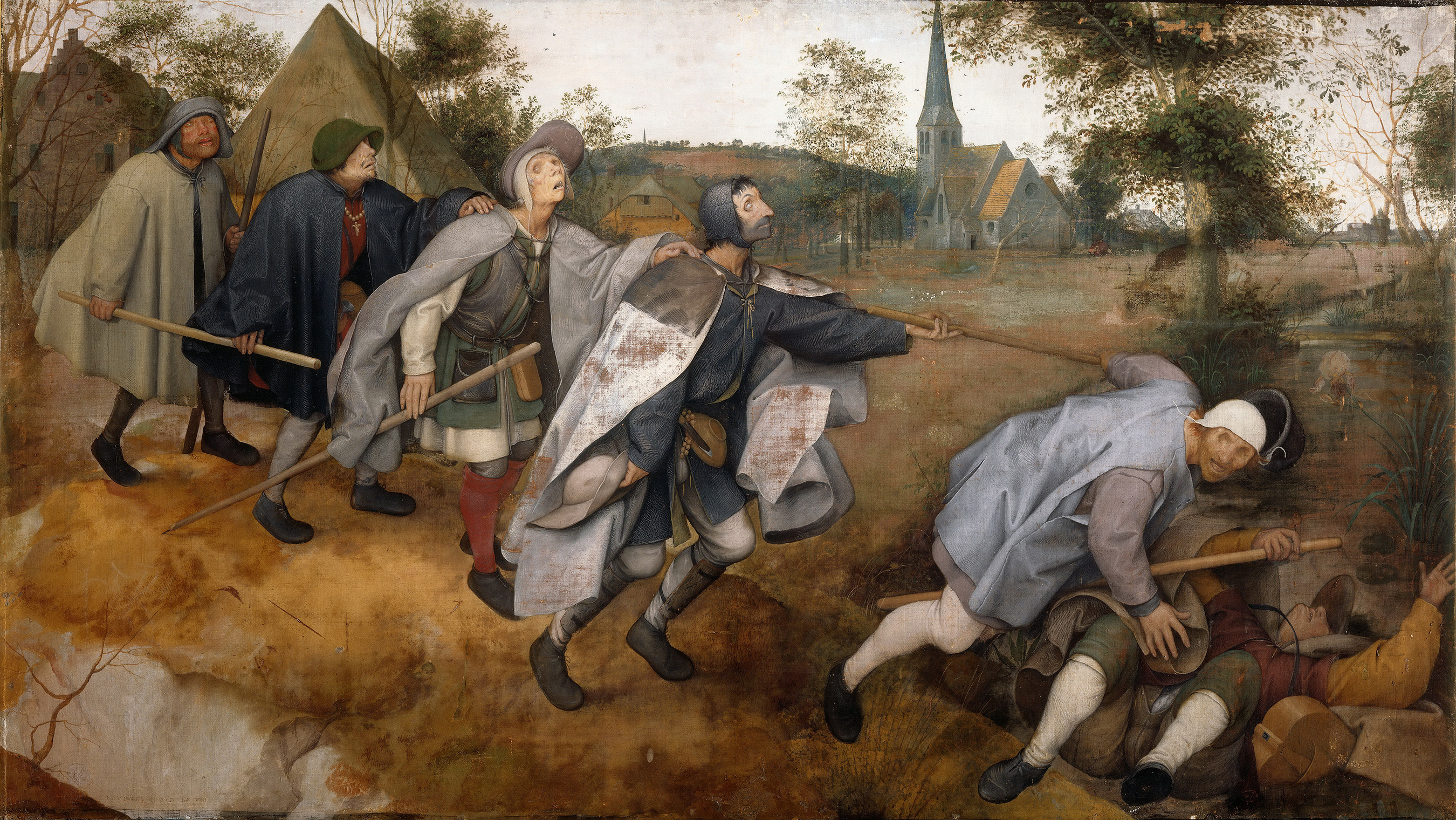 A painting of six blind men stumbling