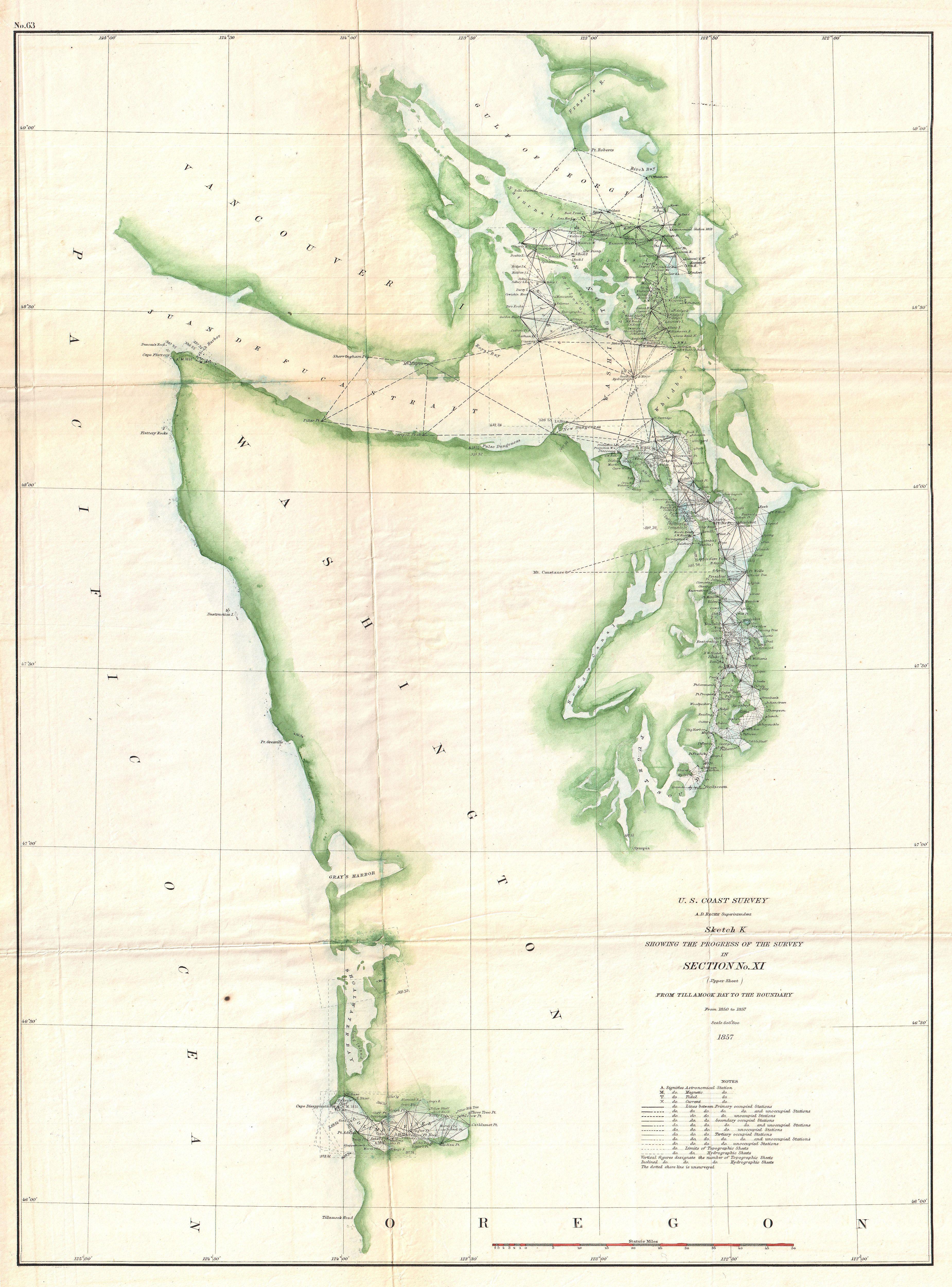 1857 U.S. Coast Map of the Washington Coast, Puget Sound, and ...