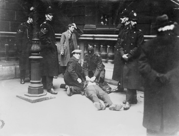 File:1919 Battle of George Square - David Kirkwood on the ground after being struck by police batons.jpg