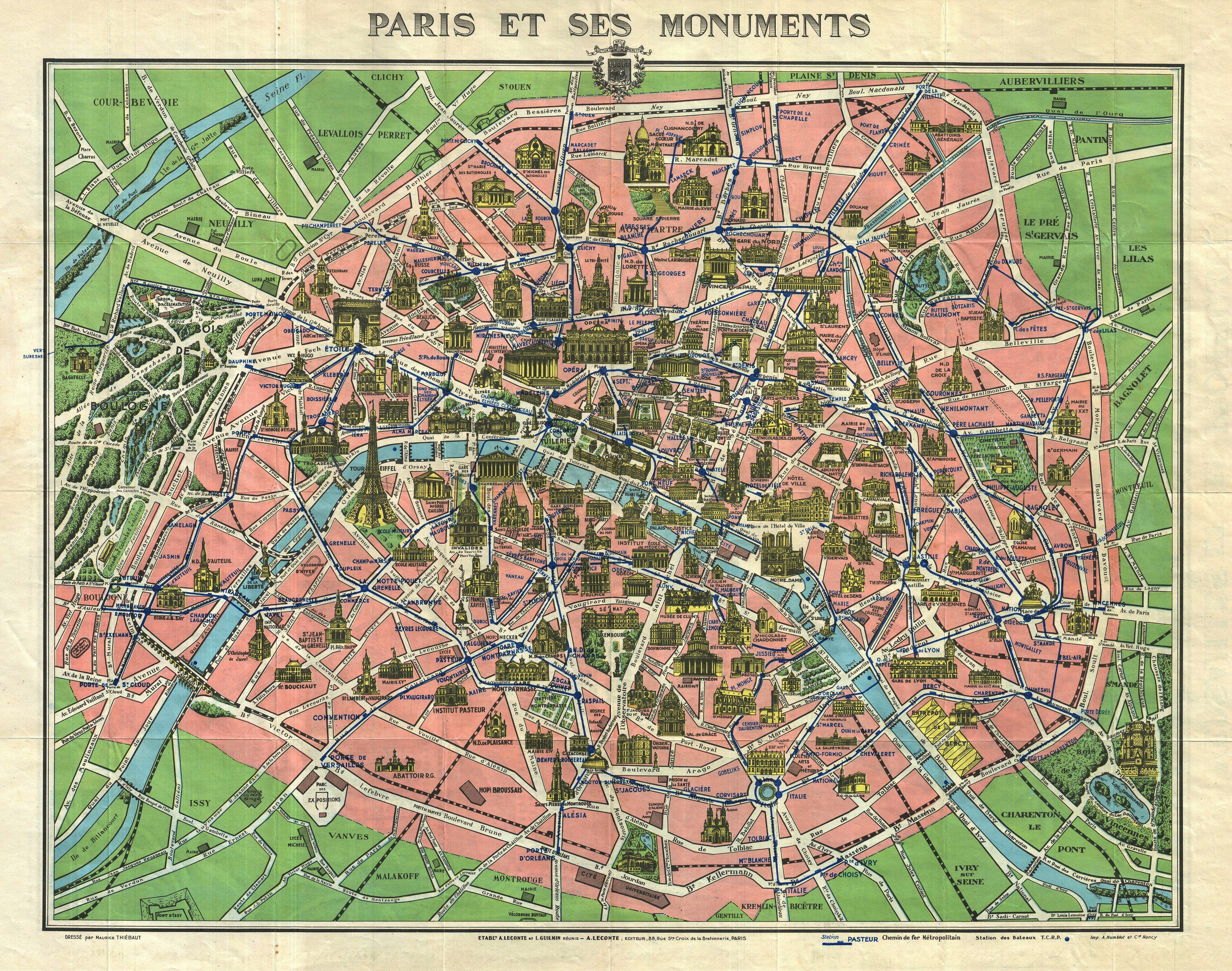 File1920s Leconte Map of Paris wMonuments and Map of Versailles – Map of Paris with Monuments