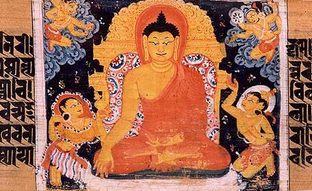 The Buddha sitting in meditation, surrounded by demons of M ra. Sanskrit manuscript. N land , Bihar, India. P la period.
