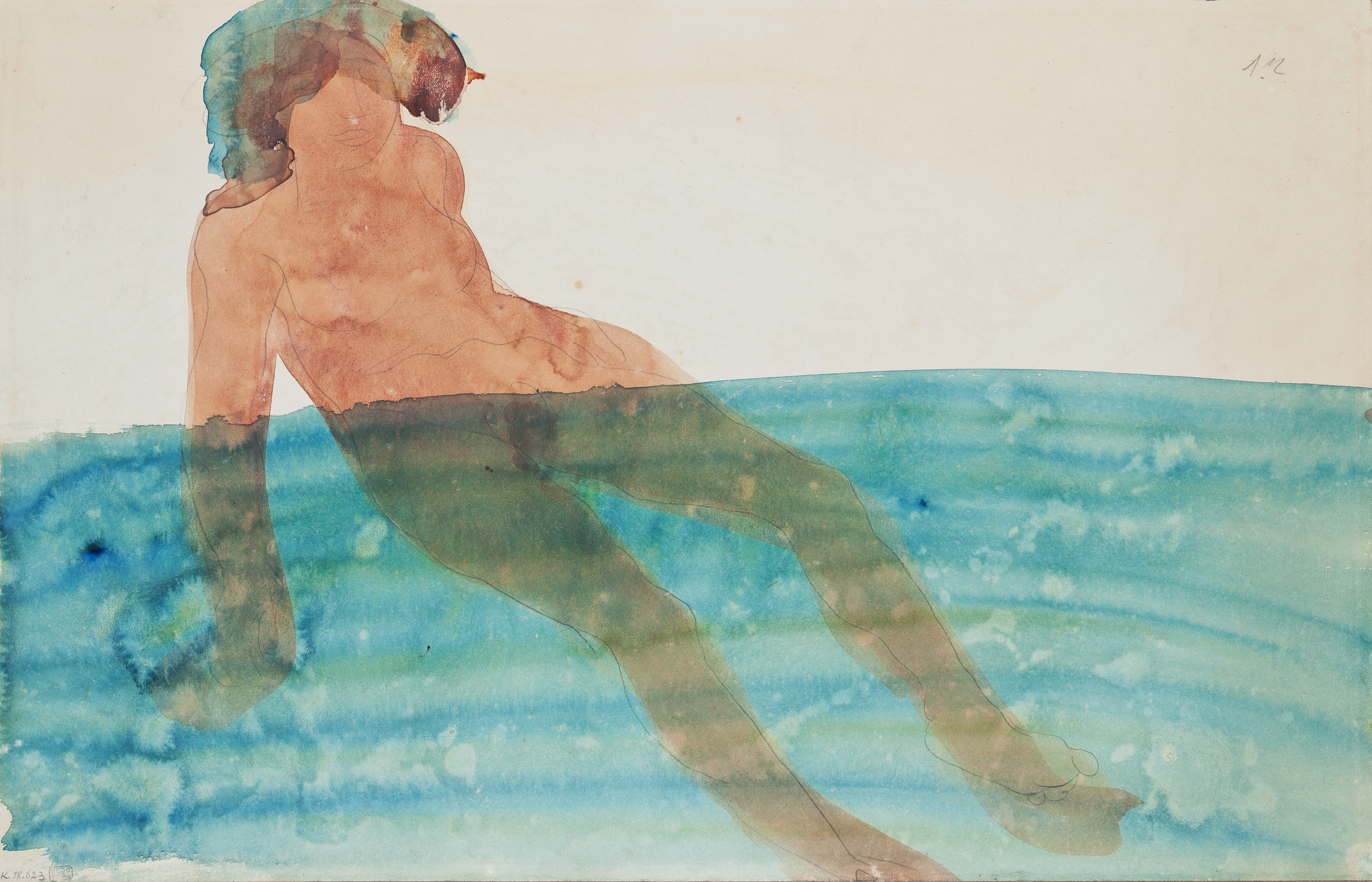 File Auguste Rodin Koupajici Se Zena Pred 1902 Tuzka Akvarel