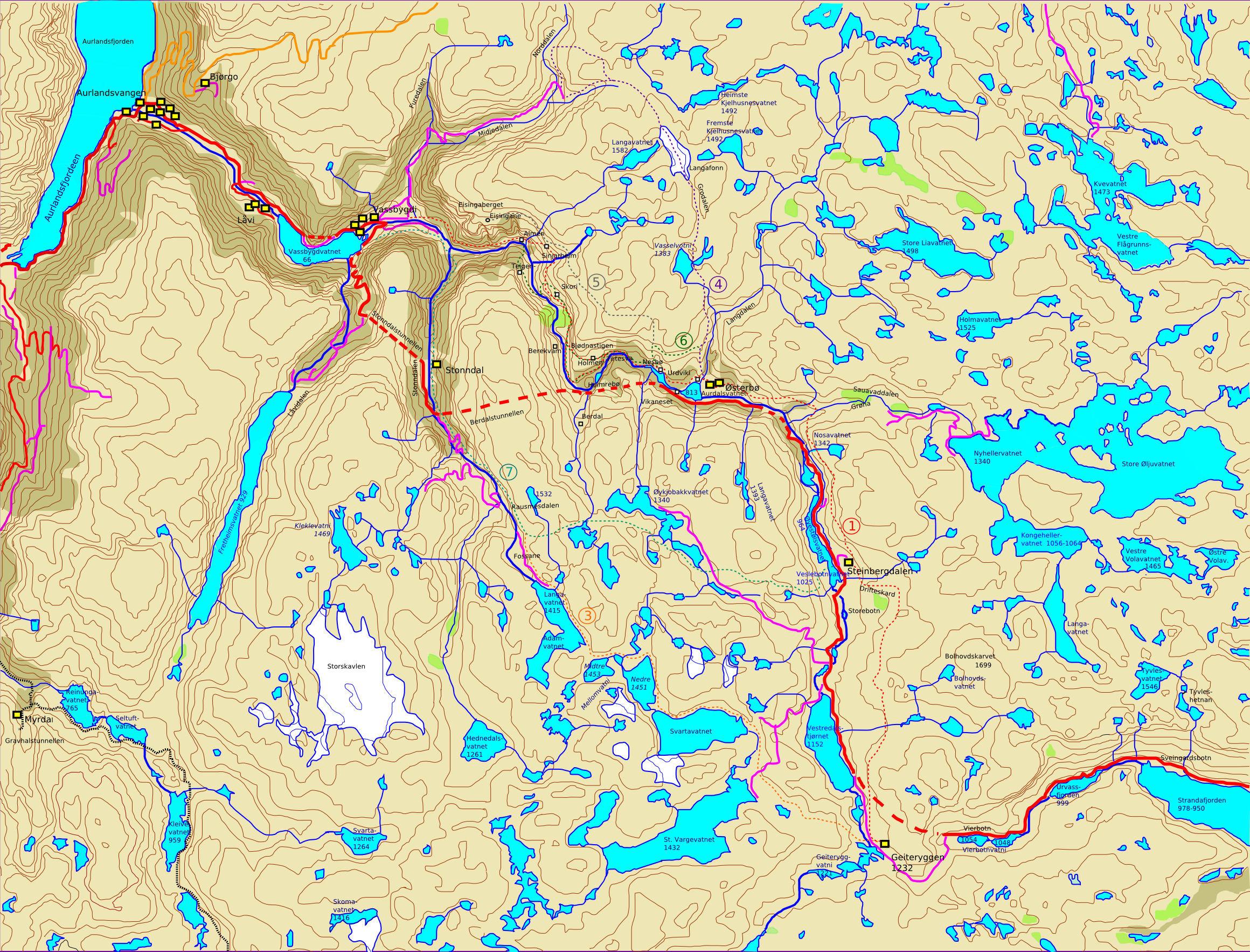 kart aurland plans for hike Aurlandsdalen 2008 kart aurland