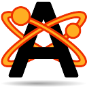 A black sans-serif capital letter A being orbited by two orange stylized electrons with orange trails.