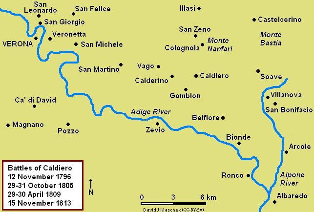 Map of the Battle of Caldiero, 29–31 October 1805