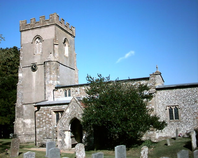 St Nicholas' parish church, Baydon, Wiltshire, seen from the south