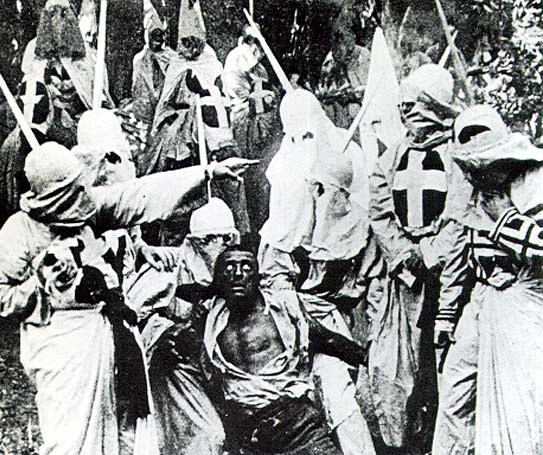 From the movie 'Birth of a Nation' the Christian group, the KKK, murder a black man.