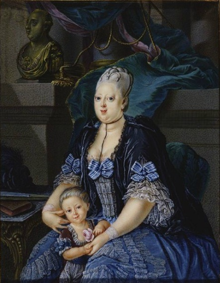 Caroline Matilda and her son the Crown Prince, by Carl Daniel Voigts, 1773. Caroline Mathilde by Voigts.jpg