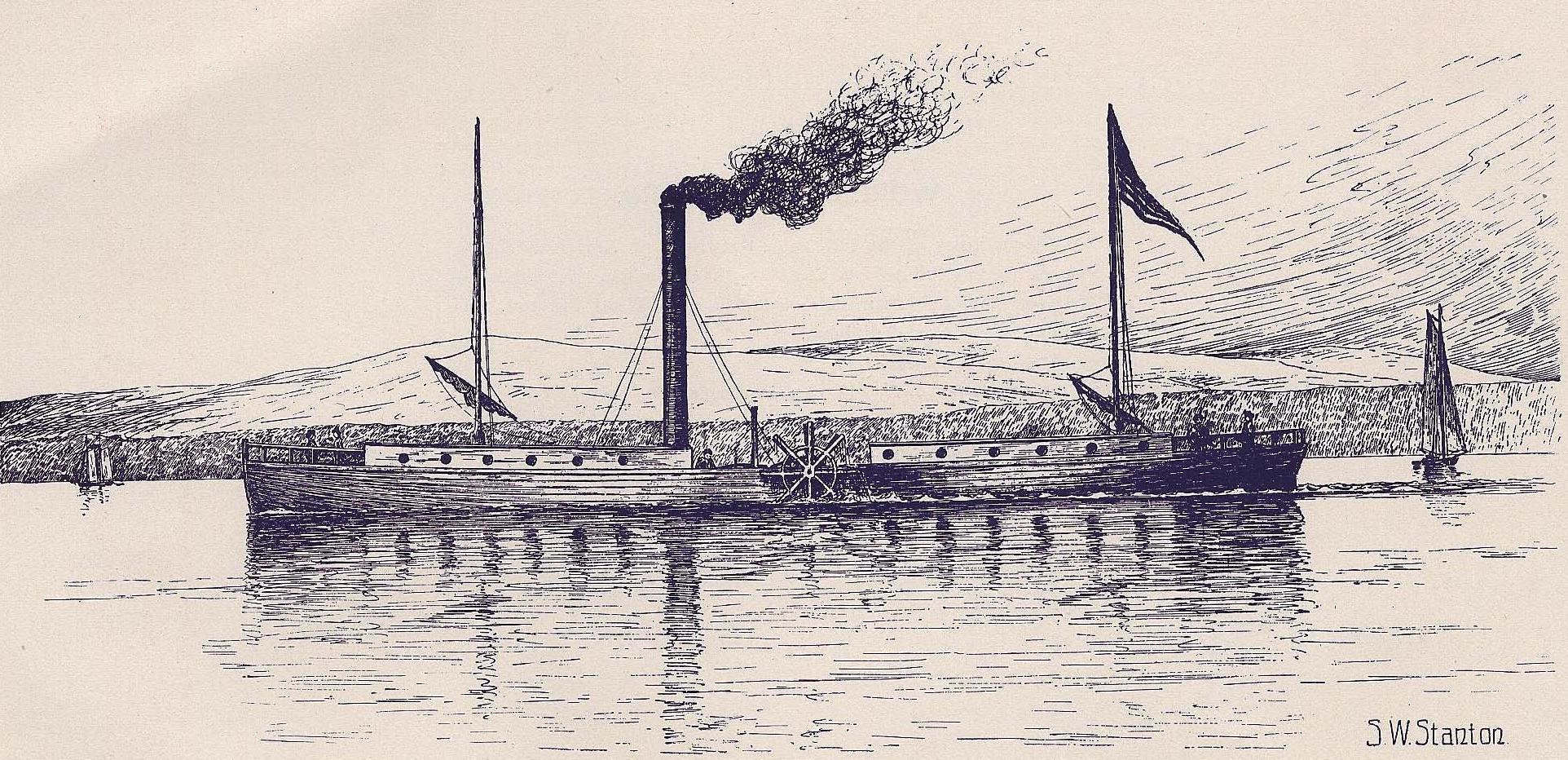 Die Clermont von Fulton gilt als das erste brauchbare Dampfschiff, zum Vortrieb wurden Schaufelräder verwendet.