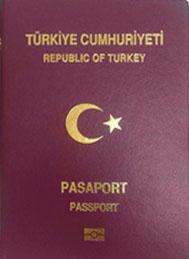 cover of Turkish passport (maroon with gold letters)