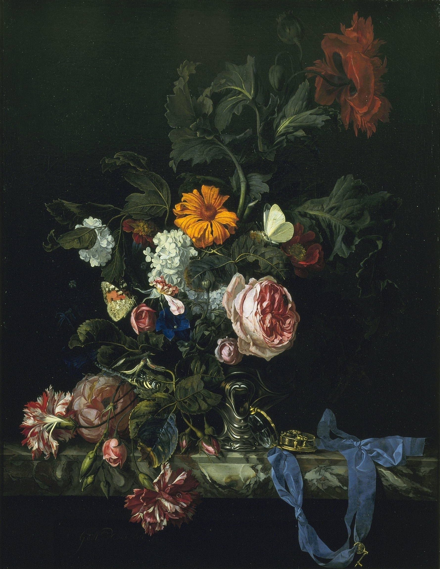 File Flower Still Life With A Watch By Willem Van Aelst Jpg
