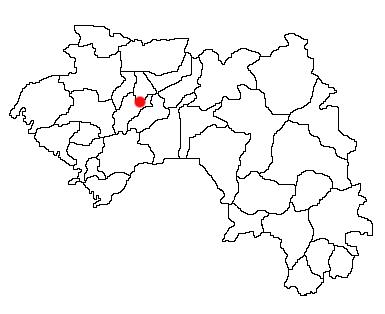 Position géographique de la préfecture de Pita au sein de la Guinée Source:  en.wikipedia.org