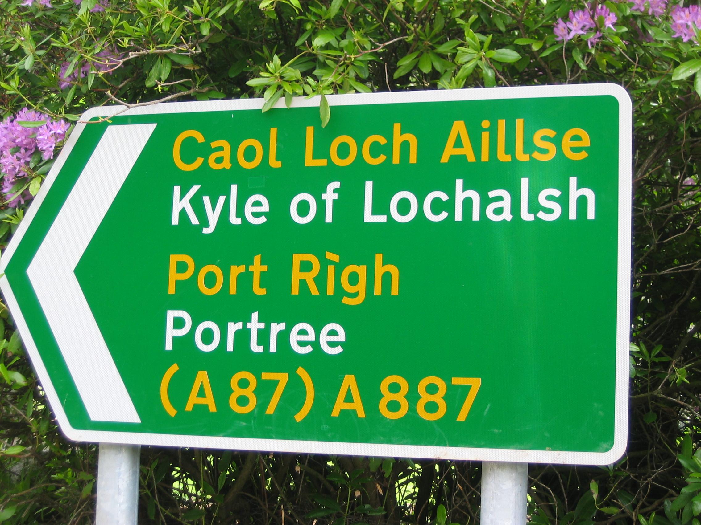 Gaelic/English road sign at Invermoriston