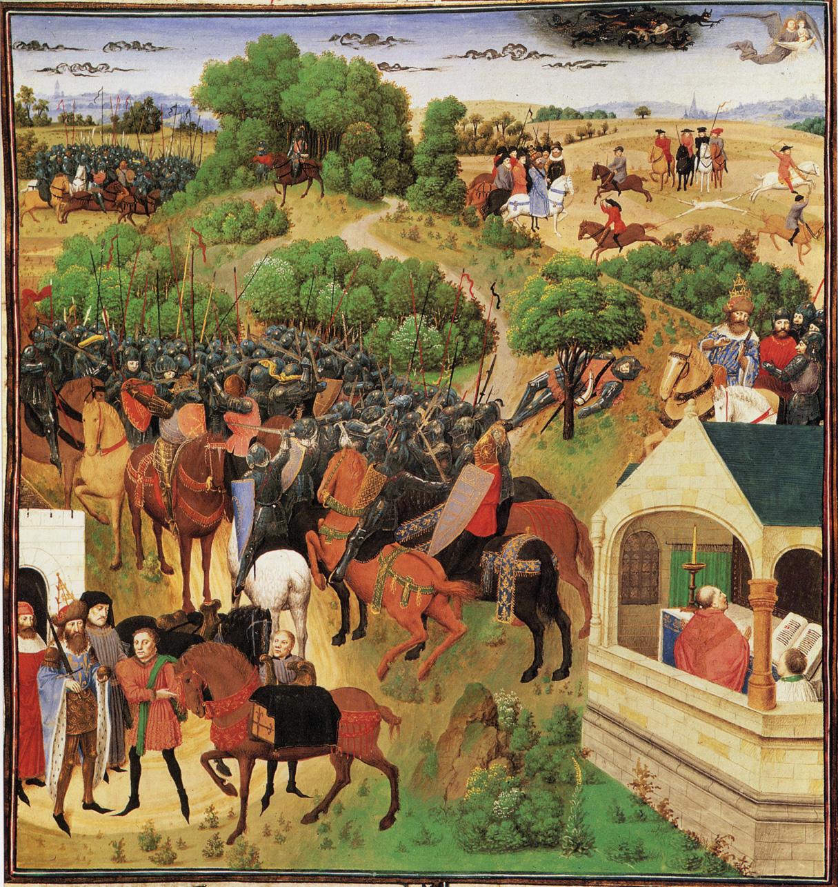enluminure représentant huit épisodes de la chanson de Roland
