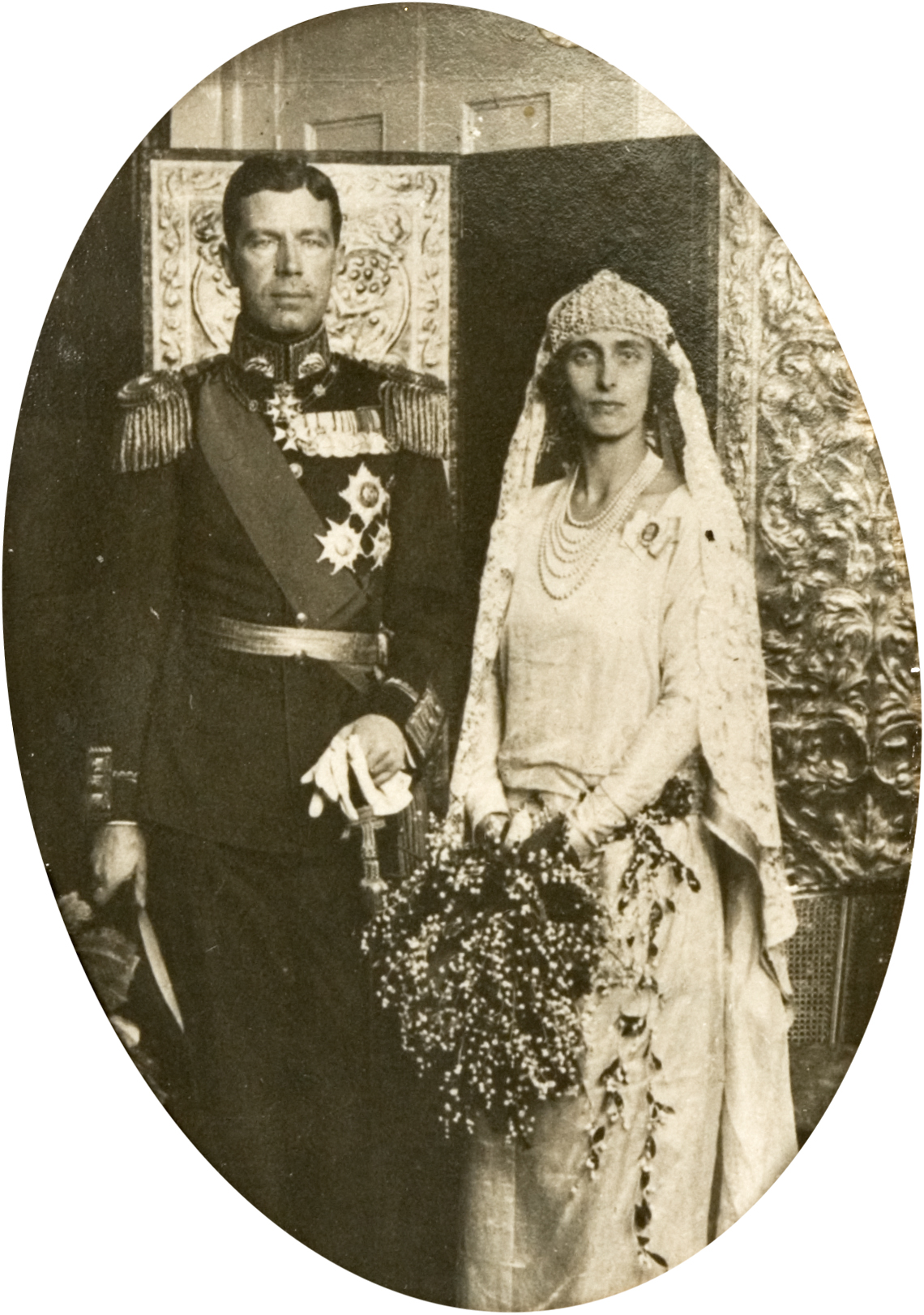 Gustaf VI Adolf of Sweden and Lady Louise Mountbatten - Royal Wedding 19th May