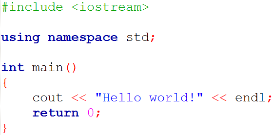 Hello world program in C++