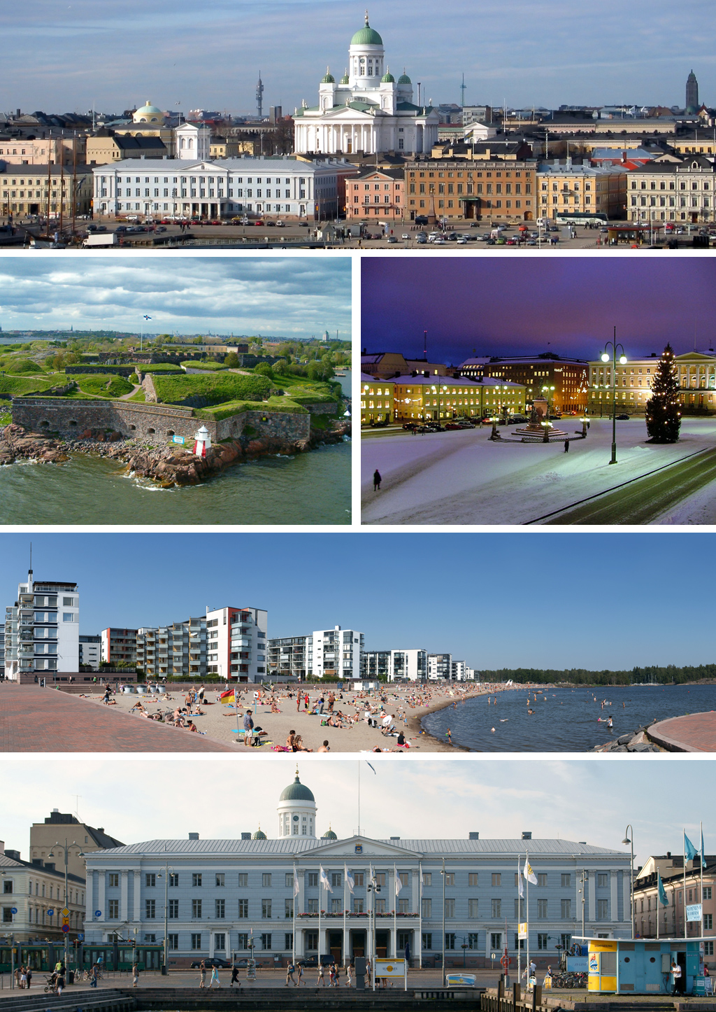 A postcard picture of many of the sights in Helsinki.