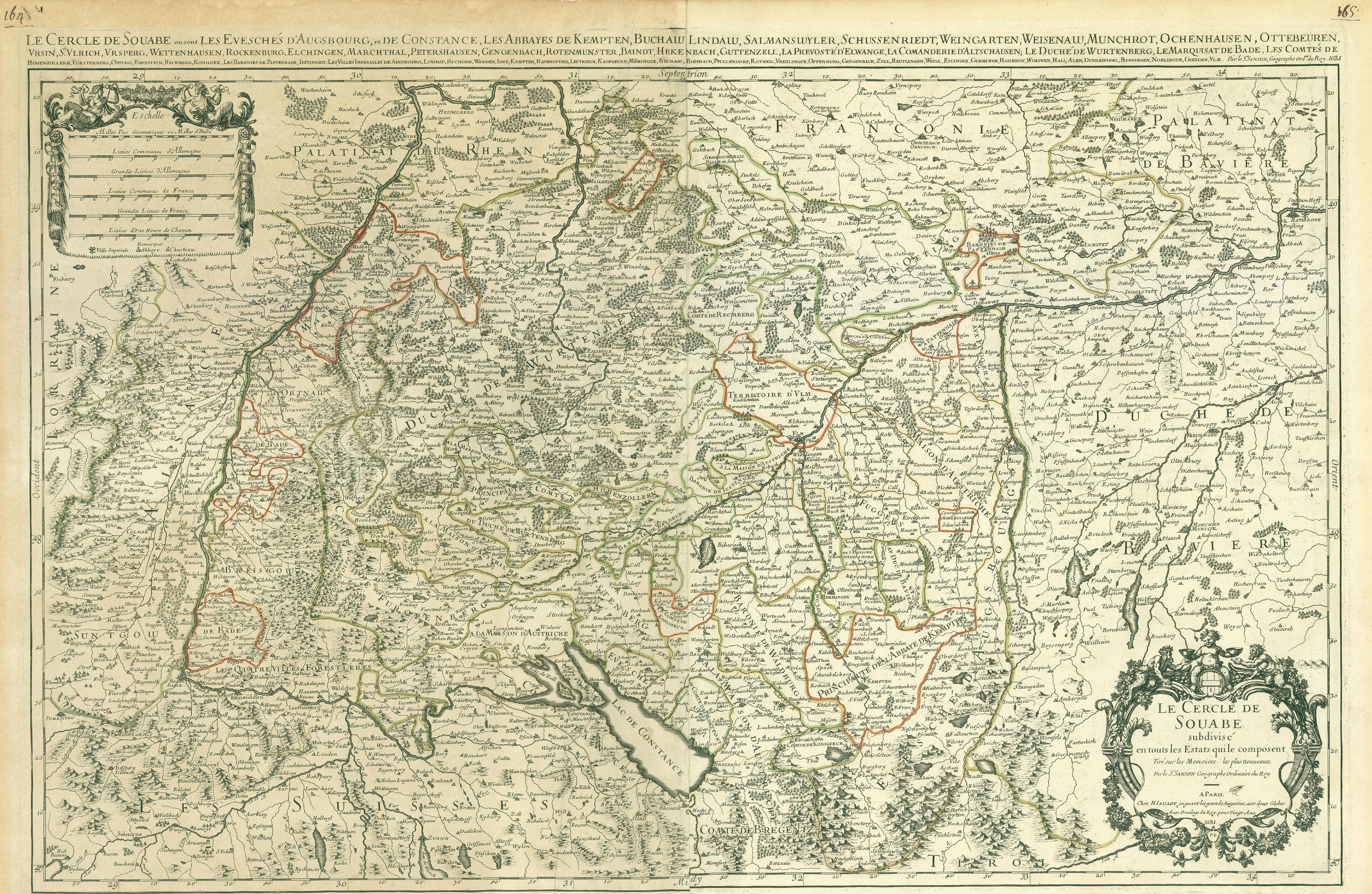 Beschreibung historische landkarte vom schwäbische reichskreis um
