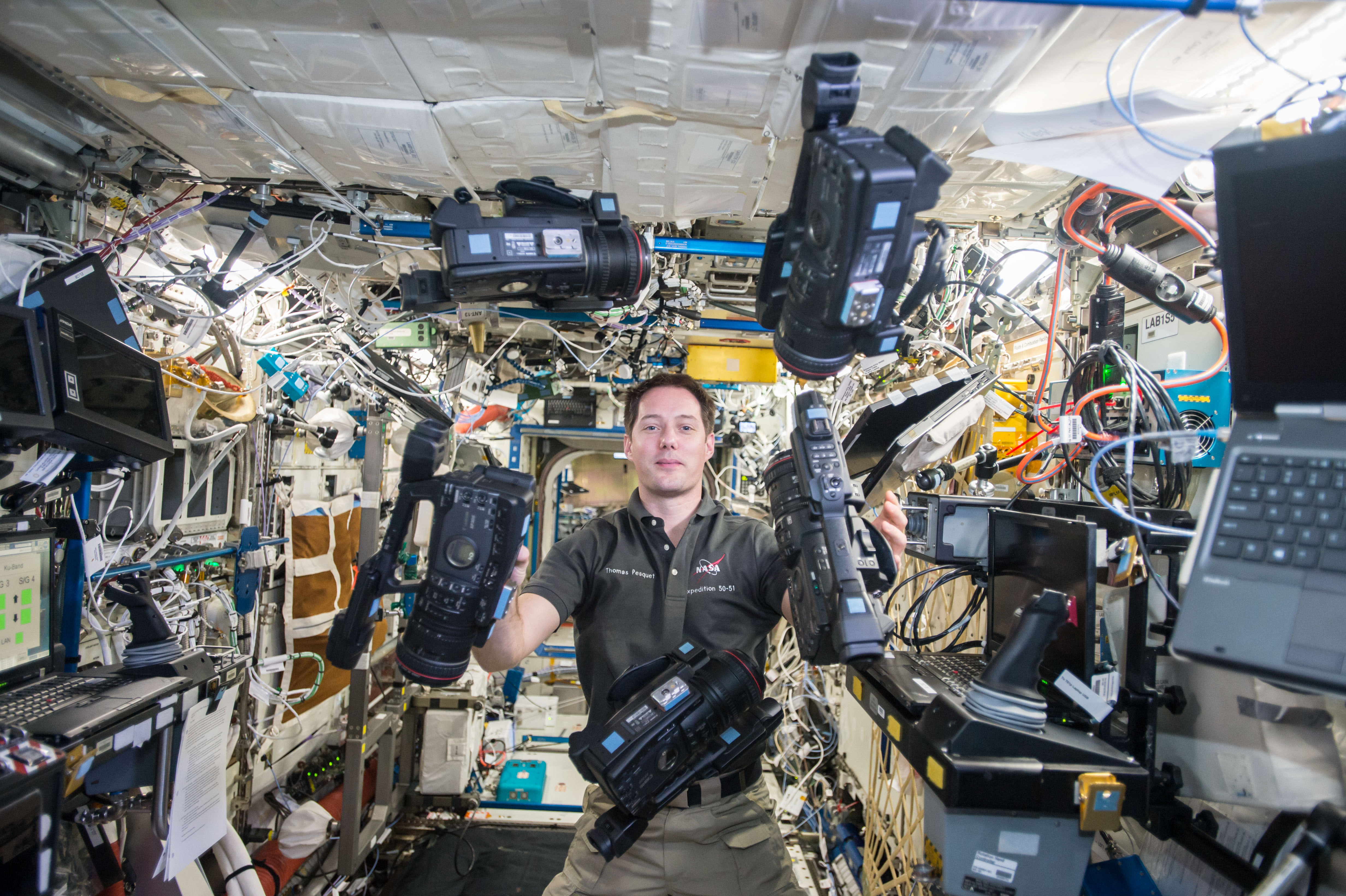 File:ISS-50 Thomas Pesquet with video cameras in the ...