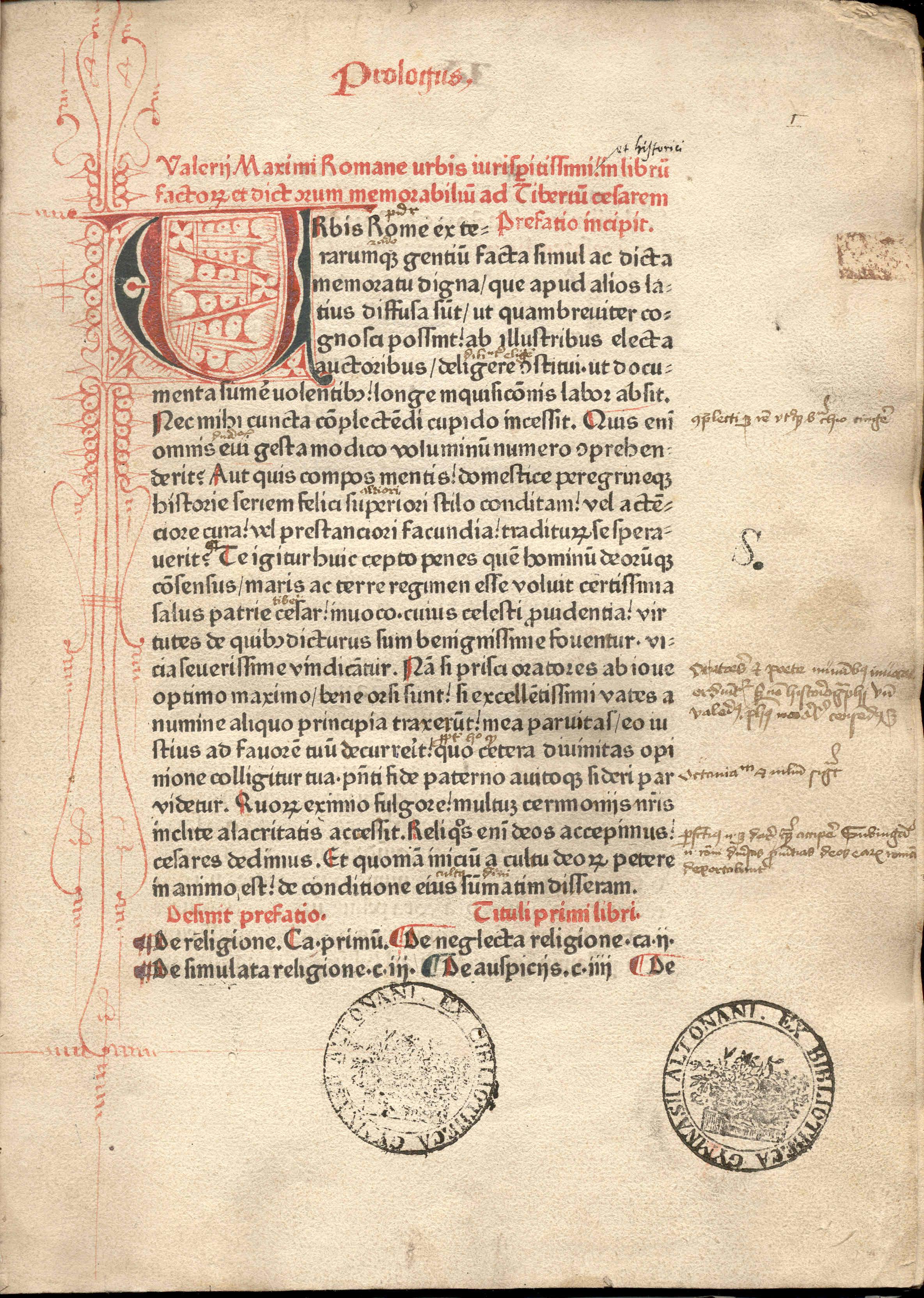 Textus Valerii Maximi anno 1471 editus.