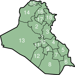 I Governatorati dell'Iraq (numerati)