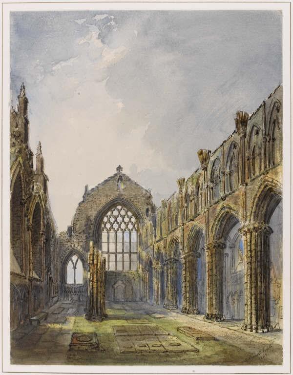 Dessin de Jane Stewart Smith de l'abbaye de Hollyrood à Edimbourg en 1868.