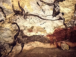 Cave painting of aurochs, (French: Bos primigenius primigenius), Lascaux, France, an example of prehistoric art
