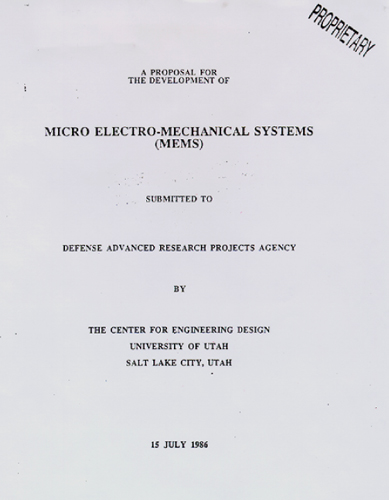"Proposal submitted to DARPA in 1986 first introducing the term ""microelectromechanical systems"" MEMsfounding.jpg"