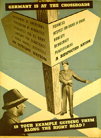 American poster for re-education. OMGUS, US Army, around 1947