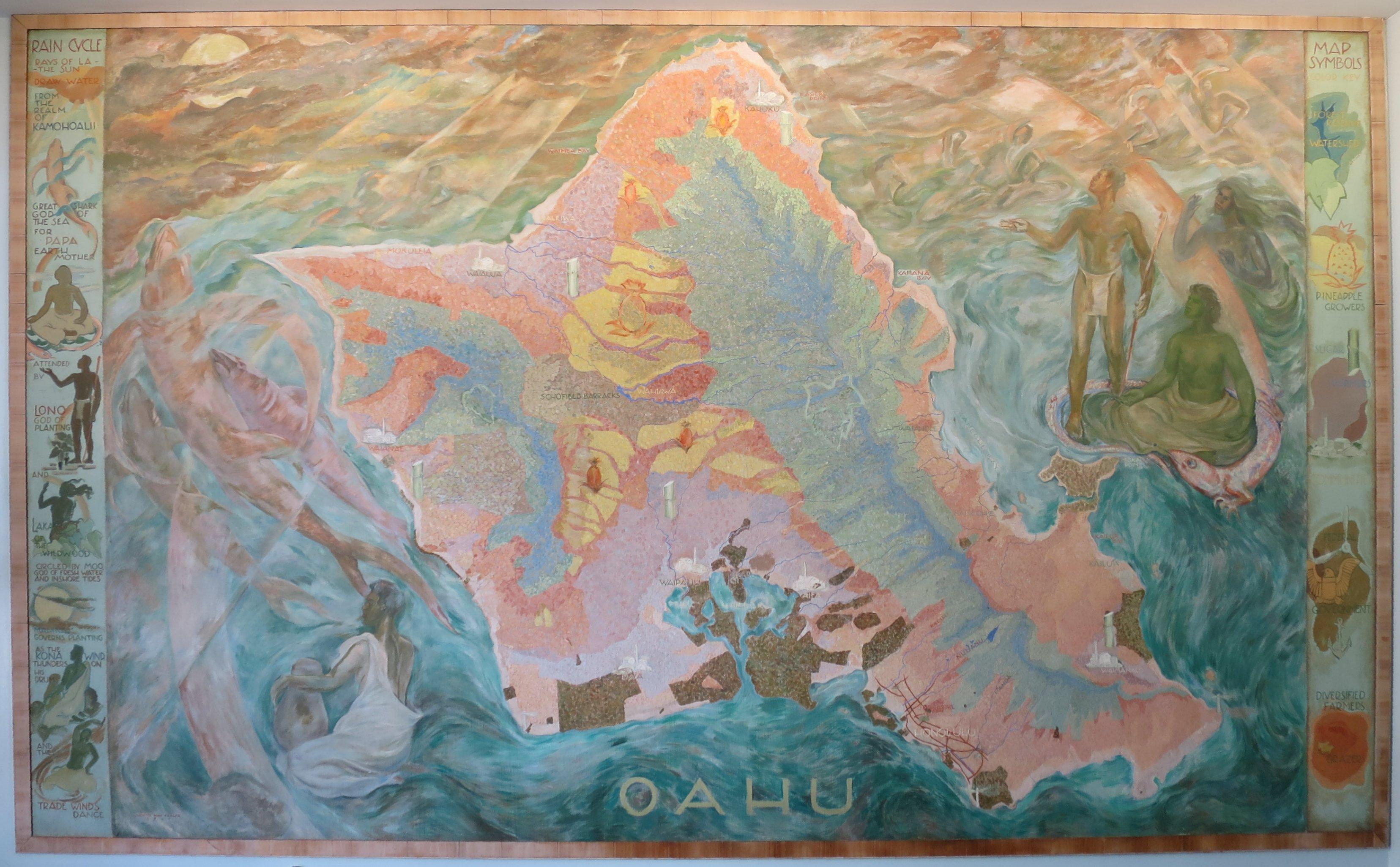 File:Oahu Mural by Juliette May Fraser, 1940, lobby