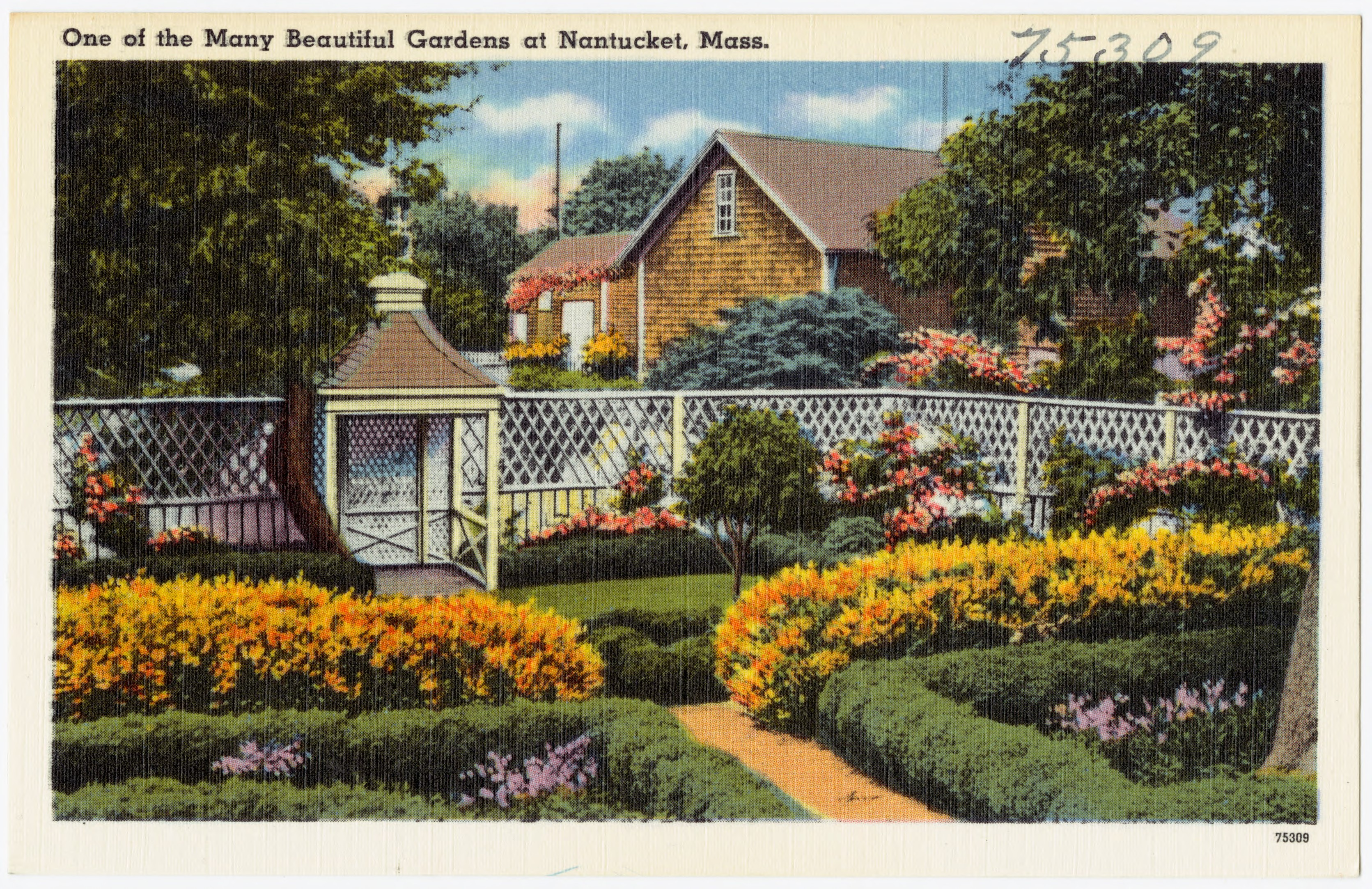 File:One Of The Many Beautiful Gardens At Nantucket, Mass (75309).