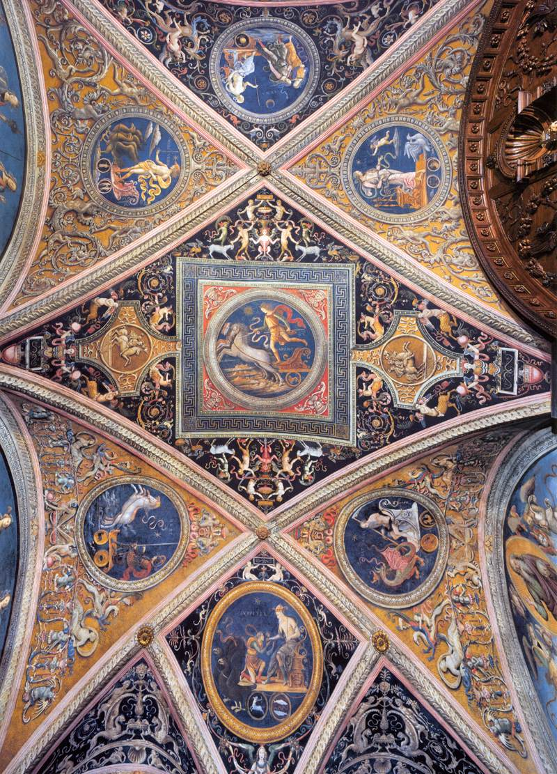 Pietro Perugino, grotesque ceiling decorations, 1497-1500, Collegio del Cambio, Perugia