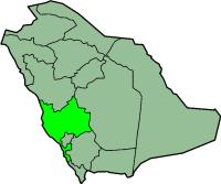 मानचित्र जिसमें मक्का مكة المكرمة / Makkah हाइलाइटेड है