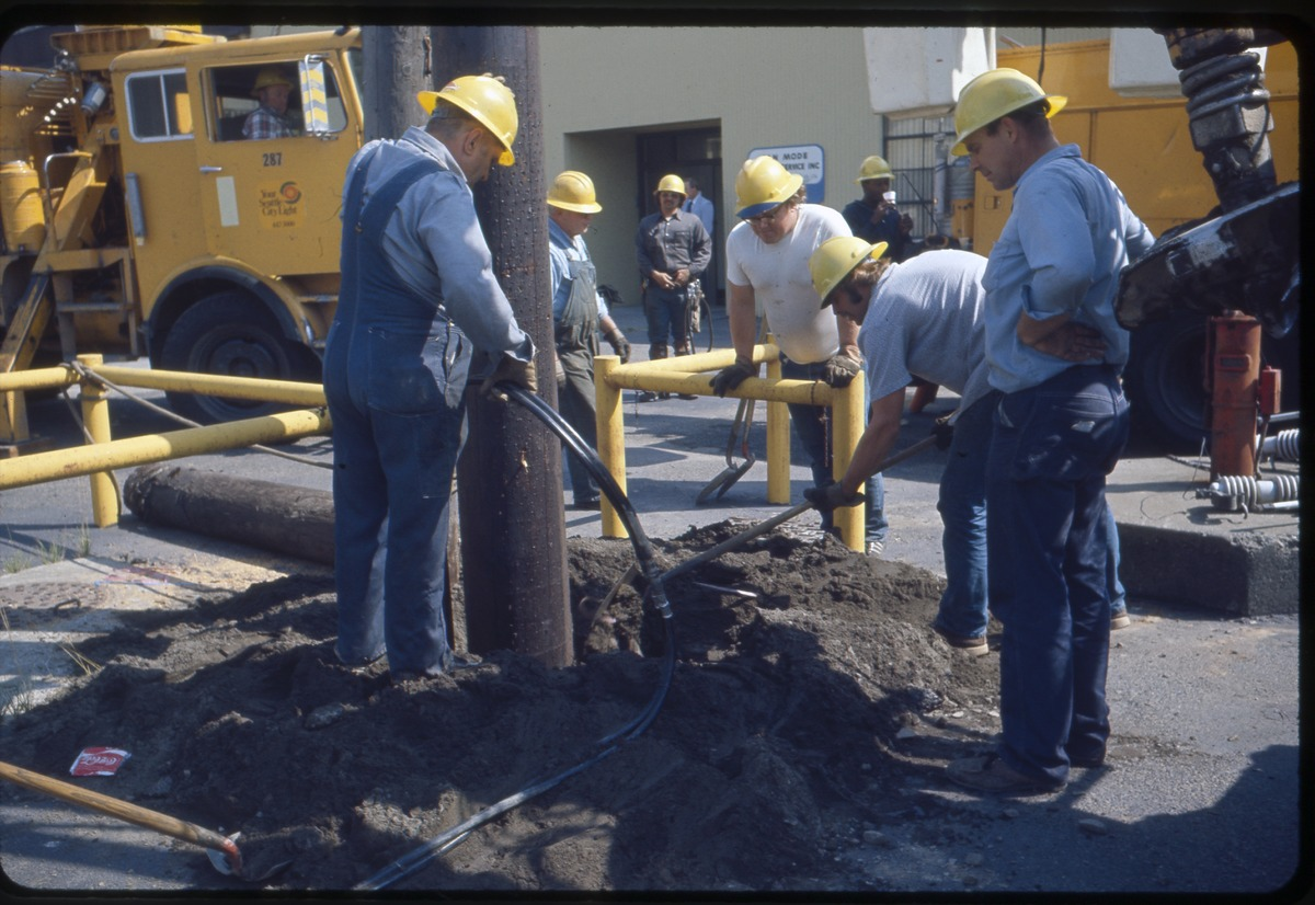 File:Seattle City Light workers installing utility pole, 1967